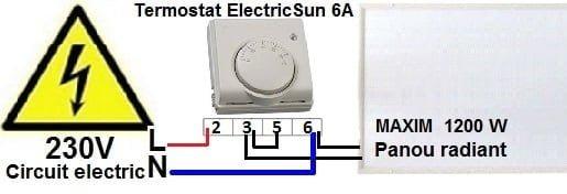 termostat mecanic, termostat cu fir, termostat ambient pret, termostat camera, electricsun 6A